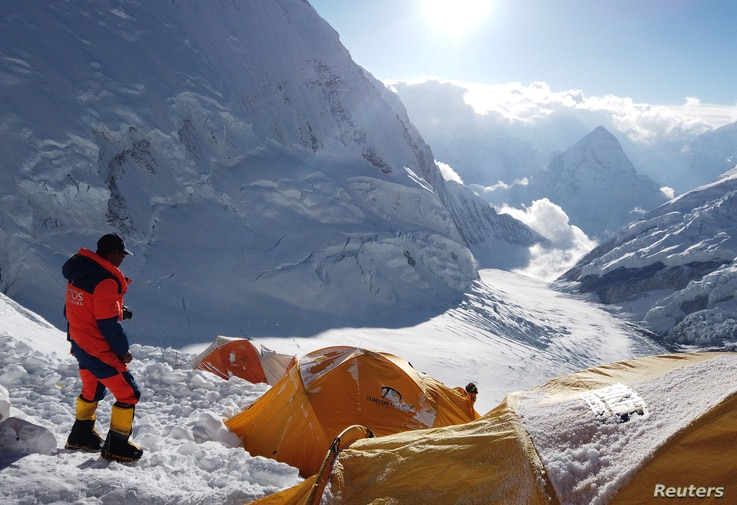 Pemba Dorjee Sherpa, 20 times Everest summiteer is seen on the camp three during the expedition of Everest, Nepal May 20, 2019.