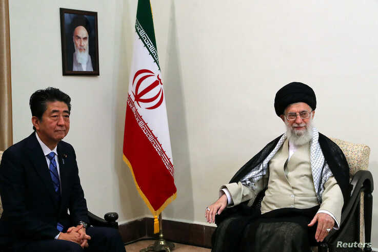 FILE - Iran's Supreme Leader Ayatollah Ali Khamenei meets with Japan's Prime Minister Shinzo Abe in Tehran, Iran, June 13, 2019.