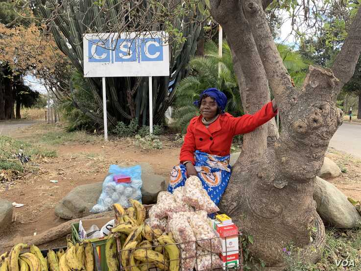 Zelipha Moyo, a mother of two, sells wares June 27, 2019,  just outside Cold Storage Company.