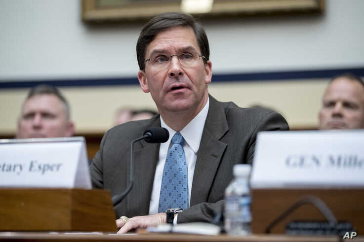 FILE - In this April 2, 2019, file photo, Secretary of the Army Mark Esper speaks during a House Armed Services Committee budget hearing on Capitol Hill in Washington.