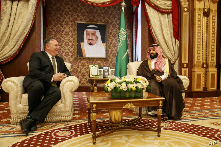 U.S. Secretary of State Mike Pompeo meets with Saudi Arabia's Crown Prince Mohammed bin Salman at Al Salam Palace in Jeddah, June 24, 2019.