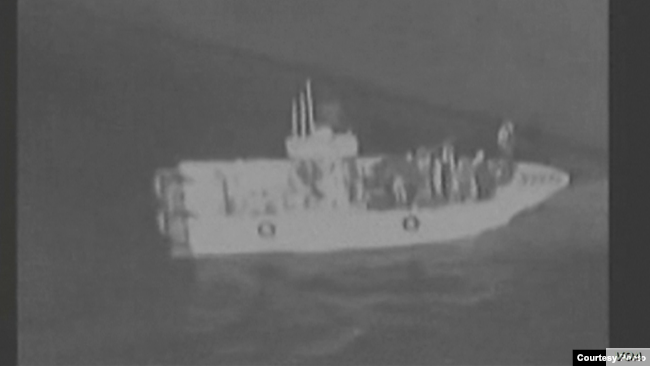 Screengrab from CENTCOM video suggesting Iranian involvement in a tanker attack, June 13, 2019.