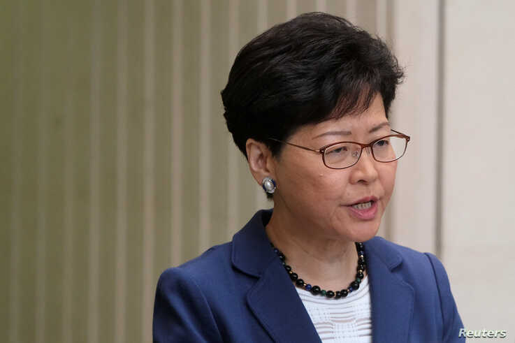 Hong Kong Chief Executive Carrie Lam attends a news conference in Hong Kong, China, June 10, 2019.