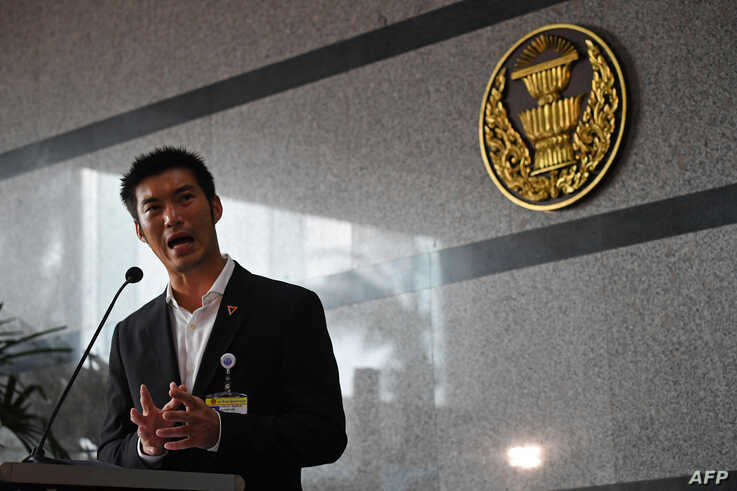 FILE - Future Forward Party leader Thanathorn Juangroongruangkit speaks to the media before the parliamentary vote for Thailand's new prime minister in Bangkok, June 5, 2019.