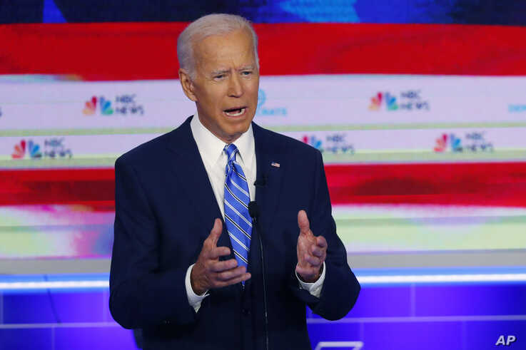 FILE - Democratic presidential candidate former vice president Joe Biden, speaks during the Democratic primary debate hosted by NBC News at the Adrienne Arsht Center for the Performing Arts in Miami, June 27, 2019.