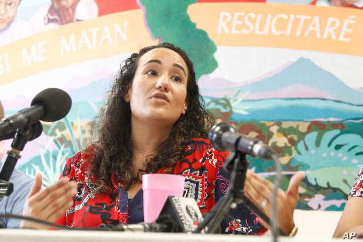 Pediatrician Lisa Ayoub-Rodriguez speaks at a shelter in El Paso, Texas, July 2, 2019, about treating migrant children released from Border Patrol detention centers along the Southwest border.