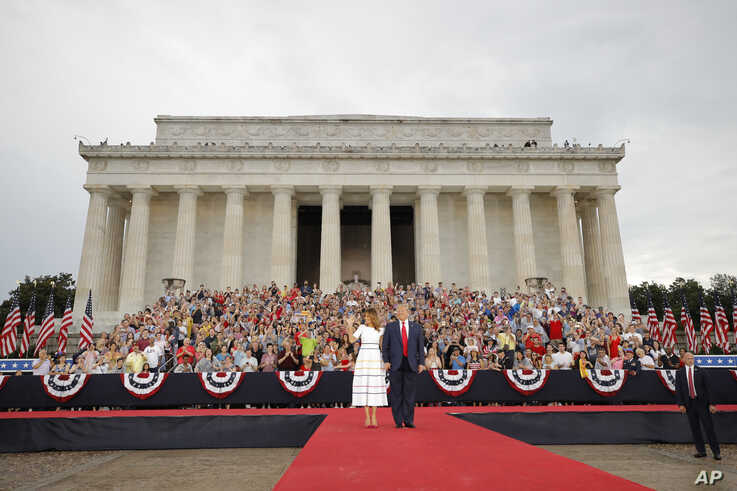 President Donald Trump and first lady Melania Trump arrive at an Independence Day celebration in front of the Lincoln Memorial, Thursday, July 4, 2019, in Washington.