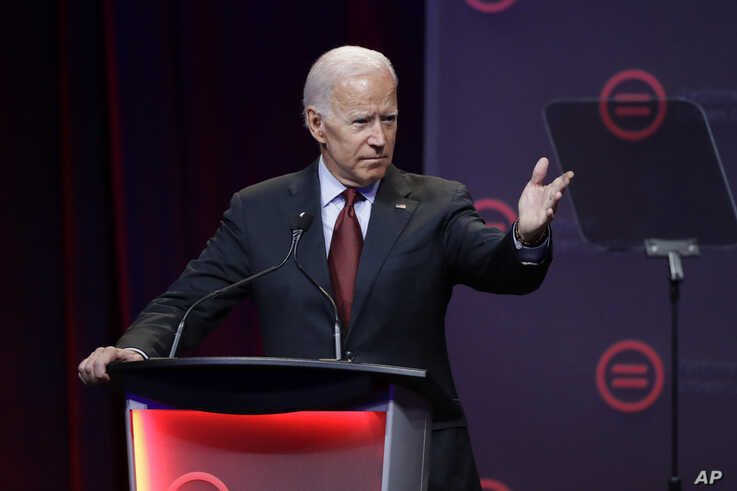 FILE - Democratic presidential candidate and former Vice President Joe Biden speaks during the National Urban League Conference in Indianapolis, July 25, 2019.