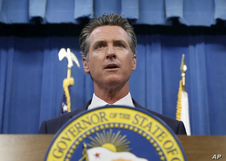 California Gov. Gavin Newsom addresses a news conference in Sacramento, Calif., July 23, 2019.