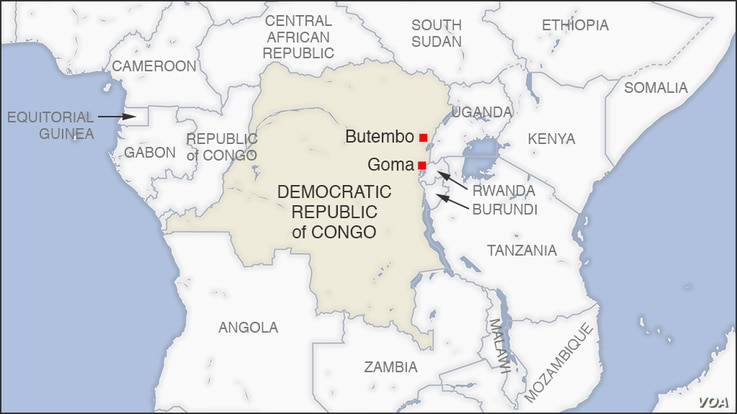 Map of Butembo and Goma DRC