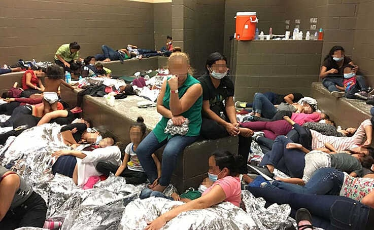 Figure 3 shows overcrowding of migrant families observed by  Dept. of Homeland Security OIG on June 11, 2019, at Border Patrol's Weslaco, TX, Station.