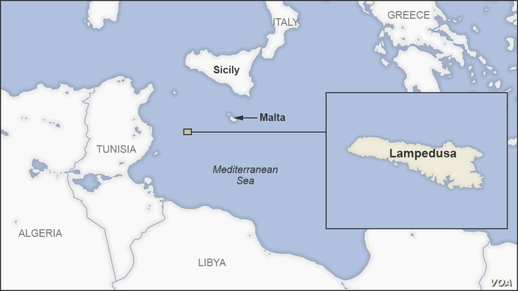 Map of the Italian island of Lampedusa, in the Mediterranean