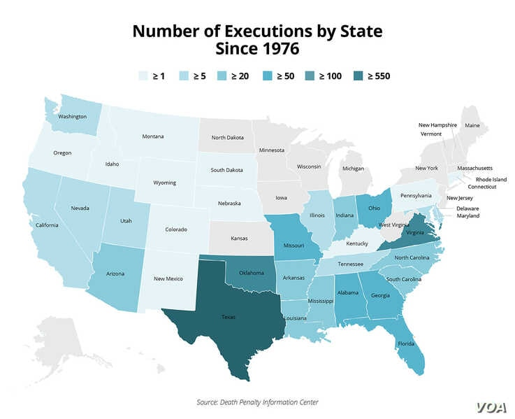 Number of Executions by State Since 1976