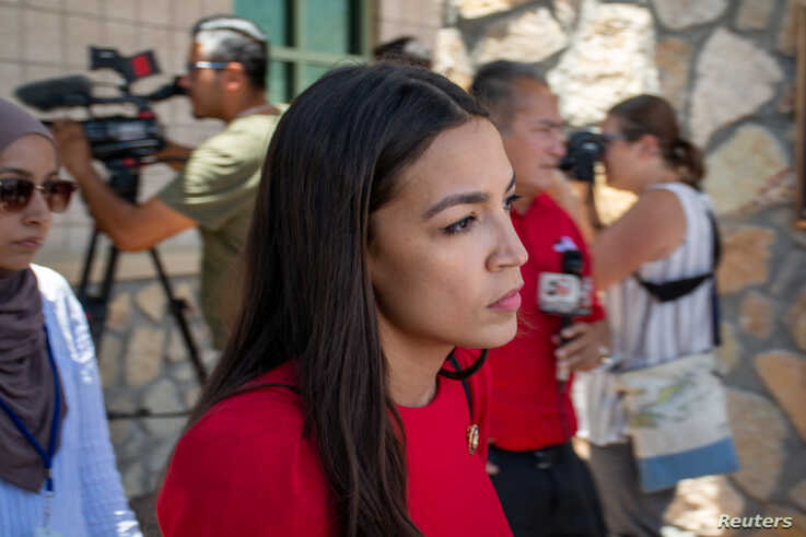 U.S. Representative Alexandria Ocasio-Cortez leaves the El Paso border patrol station during a tour of two facilities with other members of Congress in El Paso, Texas, July 1, 2019.