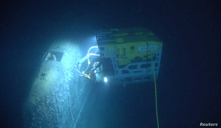 The remotely operated vehicle called Aegir 6000 examines the wreck of the Soviet nuclear submarine Komsomolets, southwest of Bear Island in the Norwegian Arctic, Norway, in this handout image released July 10, 2019.