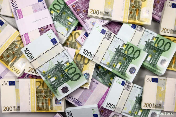 FILE - Euro currency bills are pictured at the Croatian National Bank in Zagreb, Croatia, May 21, 2019.