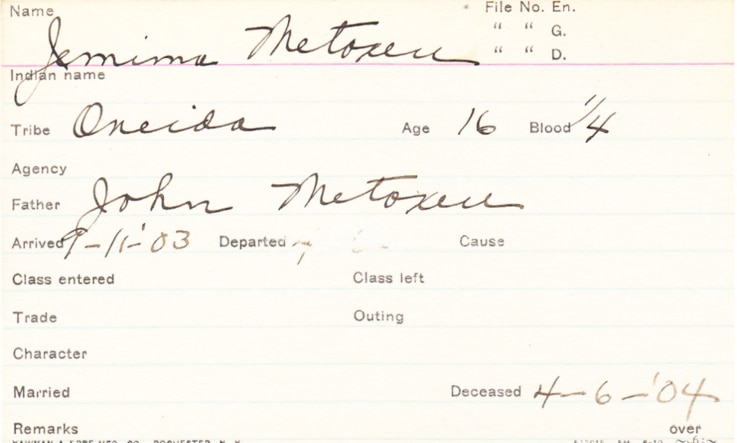 Carlisle Indian Industrial School Student Information Card for Jemima Metoxen, who died in 1904.