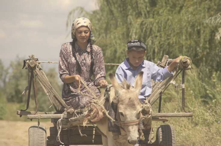 """A young Aziz Isa Elkun and his mother ride in a cart  in Xinjiang, China, in """"An Unanswered Telephone Call."""""""