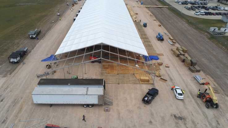 An aerial view of temporary soft-sided facilities under construction in Donna, Texas, April, 2019. (Photo courtesy of USCBP)