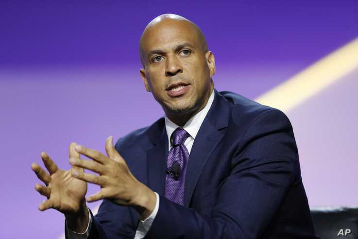 Democratic presidential candidate Sen. Cory Booker, D-N.J., speaks during a candidates forum at the 110th NAACP National Convention, July 24, 2019, in Detroit.