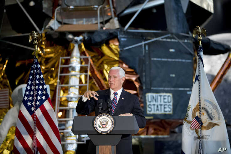 Vice President Mike Pence speaks before the unveiling of Neil Armstrong's Apollo 11 spacesuit at the Smithsonian's National Air and Space Museum on the National Mall in Washington, July 16, 2019.