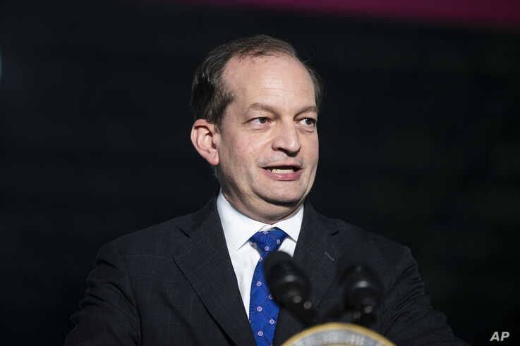 Labor Secretary Alexander Acosta speaks at JLS Automation in York, Pennsylvania, June 6, 2019.