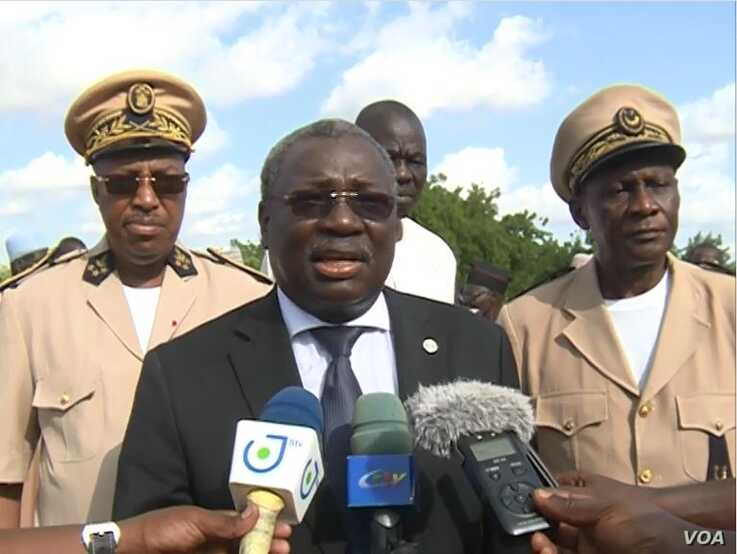Minister of livestock, known only as Dr. Taiga, speaks in Maroua, Cameroon, July 11, 2019. (M. Kindzeka/VOA)