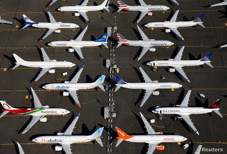 Grounded Boeing 737 MAX aircraft are seen parked at Boeing Field in Seattle, Washington.