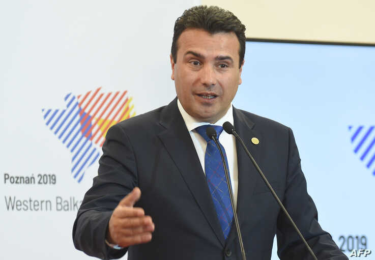 FILE - Prime Minister of Northern Macedonia Zoran Zaev speaks during a press conference in Poznan, Poland, July 5, 2019.