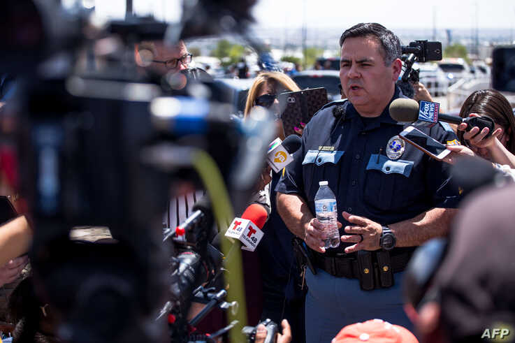 Sgt. Robert Gomez of the El Paso, Texas, police briefs reporters on a shooting that occurred at a Walmart near Cielo Vista Mall in El Paso, Aug. 3, 2019.