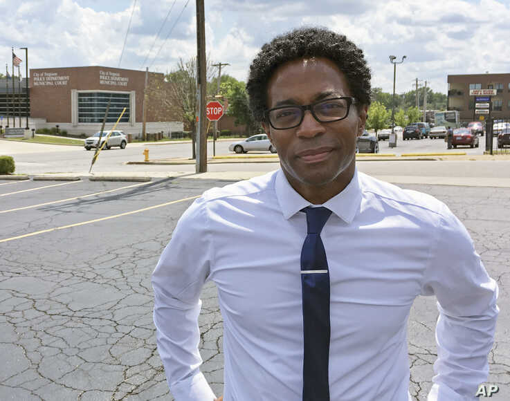 Wesley Bell stands outside the Ferguson, Mo., police headquarters, Aug. 8, 2018, after he defeated St. Louis County prosecutor Bob McCulloch. Some observers saw the race as a referendum on McCulloch's handling of the police shooting of Michael Brown.