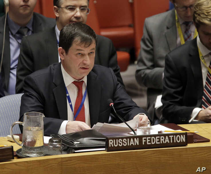 Russian Deputy Ambassador to the United Nations Dmitry Polyanskiy speaks during a security council meeting about the escalating tensions between the Ukraine and Russia at United Nations headquarters, Nov. 26, 2018.