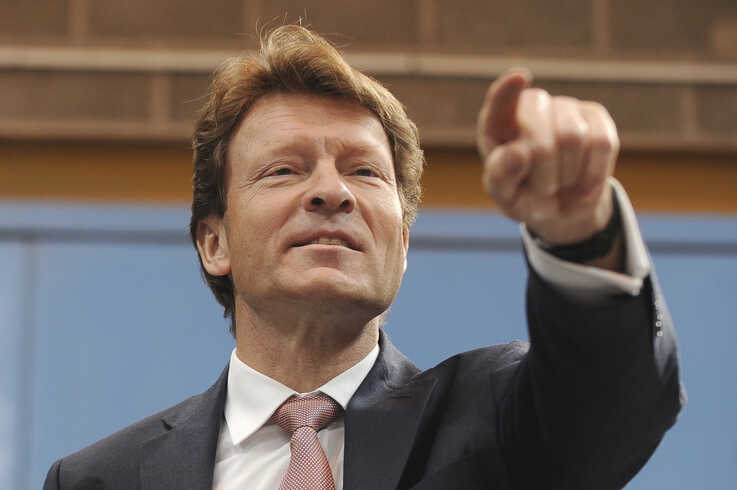 Party chairman Richard Tice speaks during the launch of the Brexit Party's European election campaign, Coventry, England, April 12, 2019.