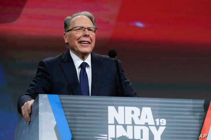 Nation Rifle Association Executive Vice President Wayne LaPierre speaks at the NRA Annual Meeting of Members in Indianapolis,  April 27, 2019.