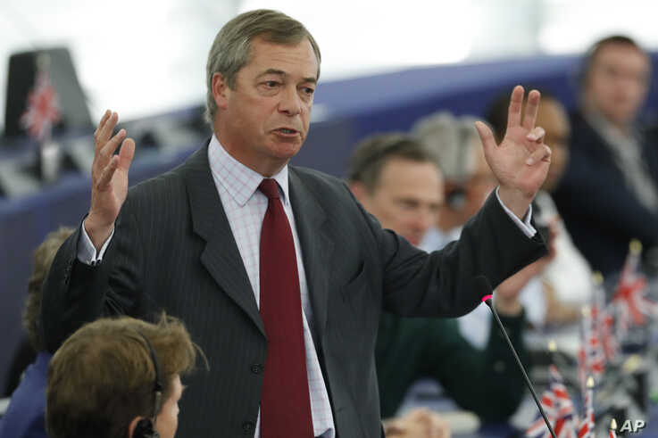 Brexit Party chairman Nigel Farage speaks during a debate at the European Parliament in Strasbourg, France, July 16, 2019.