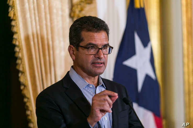 Pedro Pierluisi, sworn in as Puerto Rico's governor last week, speaks during a press conference at the government mansion La Fortaleza in San Juan, Puerto Rico,  Aug. 6, 2019.