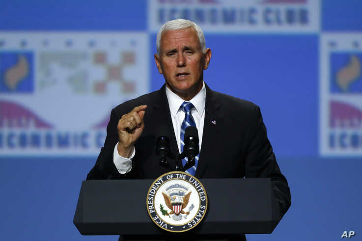 Vice President Mike Pence speaks at the Economic Club of Detroit, Aug. 19, 2019.