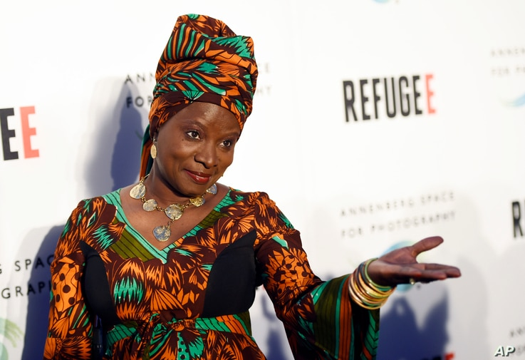 FILE - Singer and UNICEF Goodwill Ambassador Angelique Kidjo attends an event in Los Angeles, April 21, 2016.