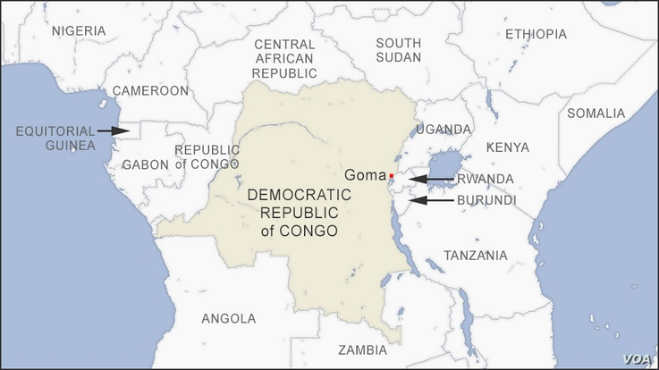 Map of Goma, DRC