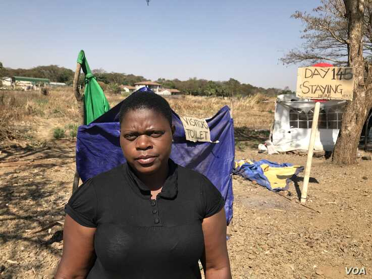 Rachel Kamangira of Broad Coalition Against Sanctions in Harare, Aug. 20, 2019. (C. Mavhunga/VOA)