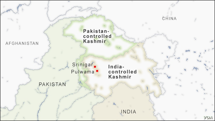 Map of Srinigar and Pulwama, in Indian-controlled Kashmir