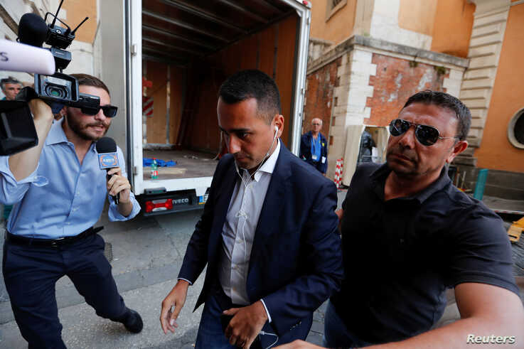 Italian Deputy Prime Minister and Labor Minister Luigi di Maio arrives for a meeting at parliament, as Italian Senate is due to set a date to hold a no-confidence vote in Rome, Aug. 12, 2019.