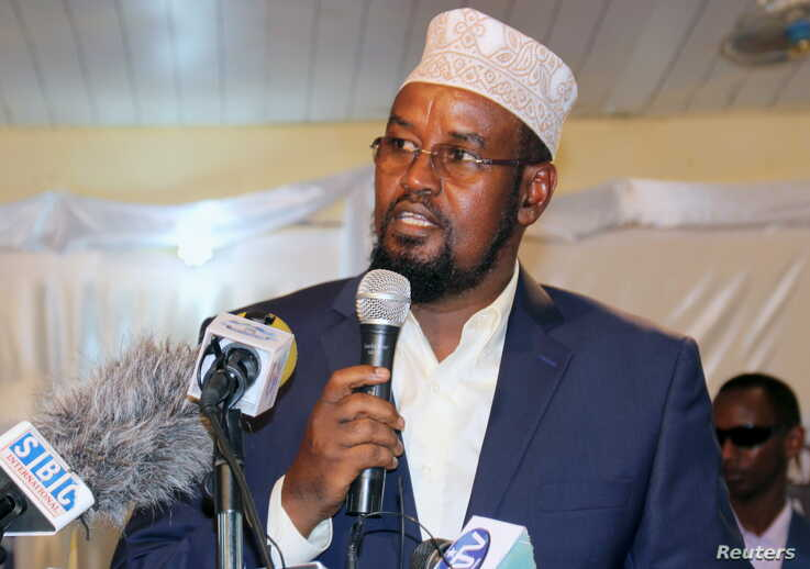 FILE - Ahmed Madobe speaks after being re-elected, in the southern port town of Kismayo, Aug. 15, 2015.