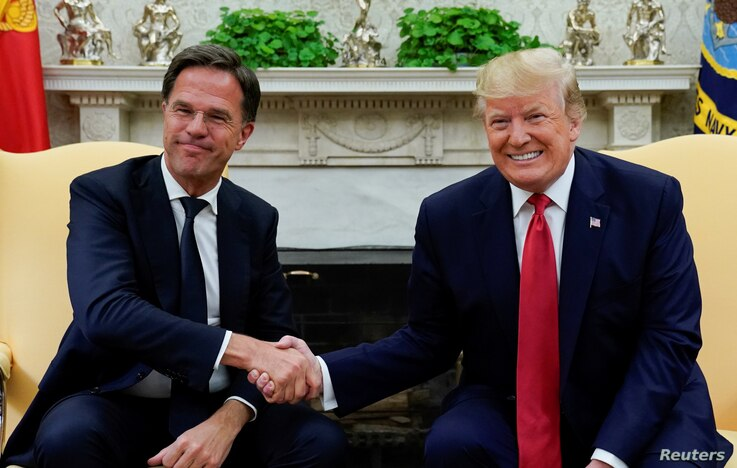 U.S. President Donald Trump meets with Netherlands' Prime Minister Mark Rutte at the White House in Washington, July 18, 2019.