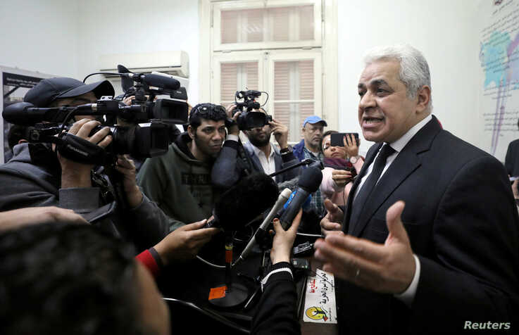 Hamdeen Sabahi speaks to the media at the headquarters of the Egyptian Social Democratic Party in Cairo, Egypt March 27, 2019.