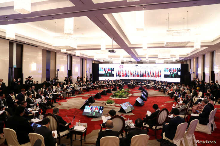 U.S. Secretary of State Mike Pompeo and his ASEAN counterparts attend the 26th ASEAN Regional Forum (ARF) in Bangkok, Thailand Aug. 2, 2019.