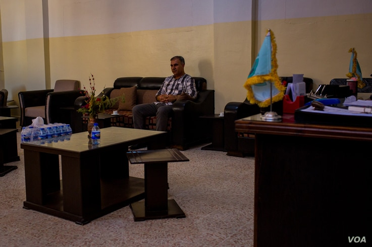 The speaker of Raqqa's Parliament, Khalid Borkal, says ISIS members and sleeper cells are still operating in Raqqa, Syria, Aug. 25, 2019. (Yan Boechat/VOA)