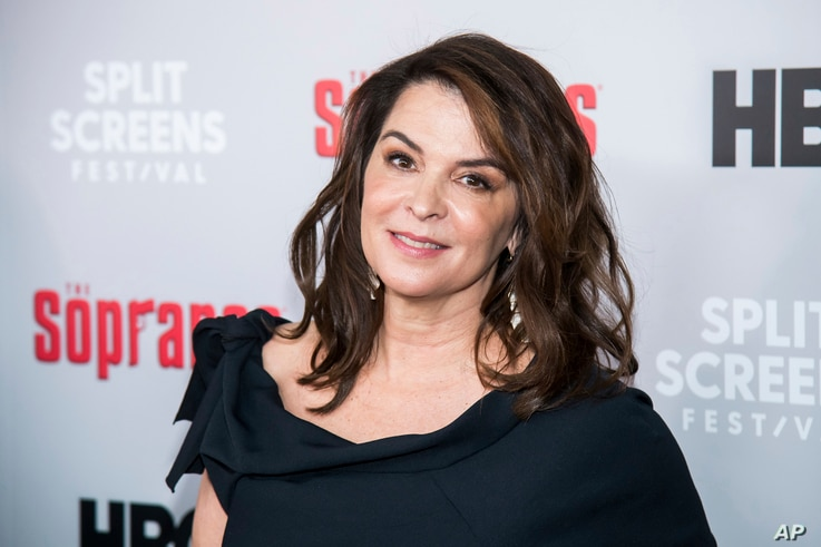 "Annabella Sciorra attends HBO's ""The Sopranos"" 20th anniversary at the SVA Theatre, Jan. 9, 2019, in New York."