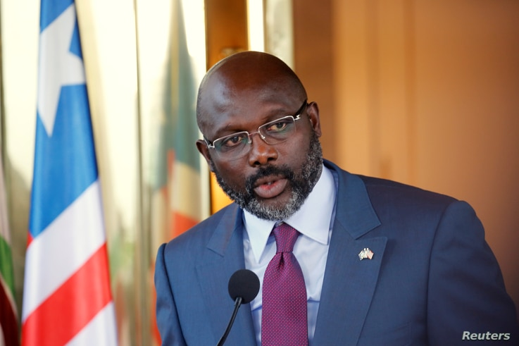Liberia's President George Weah speaks during a news conference at the Presidential palace during a visit to Abidjan, Ivory Coast, April 4, 2018.