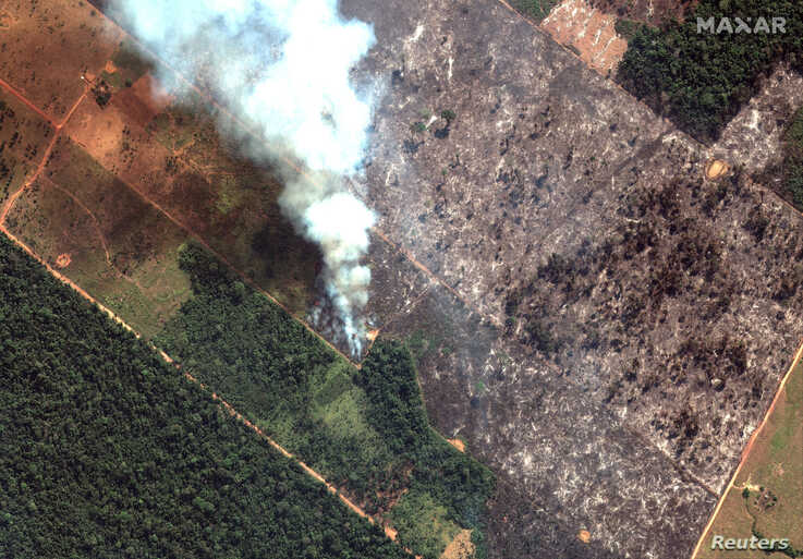 A satellite image shows smoke rising from Amazon rainforest fires in the State of Rondonia, just southwest of Porto Velho, Brazil in the upper Amazon River basin, Aug. 15, 2019.